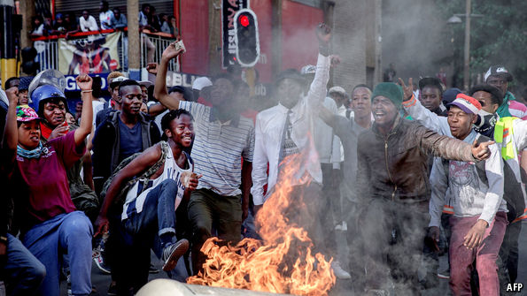 South Africans burn tires protesting lock-down hardships