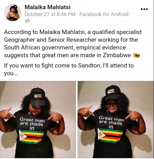 """Great men are made in Zimbabwe"" - Malaika Mahlatsi"